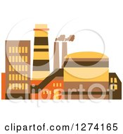 Clipart Of A Factory Building In Brown Yellow And Orange Tones 9 Royalty Free Vector Illustration