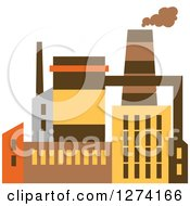 Clipart Of A Factory Building In Brown Yellow And Orange Tones 8 Royalty Free Vector Illustration
