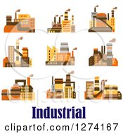 Clipart Of Factory Buildings In Brown Yellow And Orange Tones Over Text Royalty Free Vector Illustration