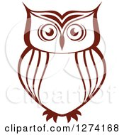 Clipart Of A Brown Owl Facing Front 4 Royalty Free Vector Illustration