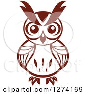 Clipart Of A Brown Owl Facing Front 5 Royalty Free Vector Illustration