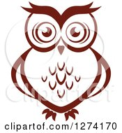 Clipart Of A Brown Owl Facing Front 2 Royalty Free Vector Illustration