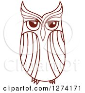Clipart Of A Brown Sketched Owl 2 Royalty Free Vector Illustration