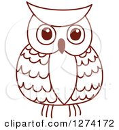 Clipart Of A Brown Sketched Owl 3 Royalty Free Vector Illustration