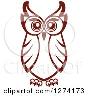 Clipart Of A Brown Owl Facing Front 3 Royalty Free Vector Illustration