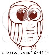 Clipart Of A Brown Sketched Owl 4 Royalty Free Vector Illustration