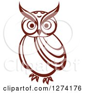 Clipart Of A Brown Owl Facing Front 6 Royalty Free Vector Illustration