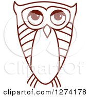 Clipart Of A Brown Sketched Owl Royalty Free Vector Illustration