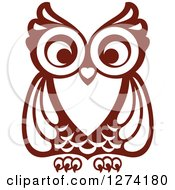 Clipart Of A Brown Owl Facing Front Royalty Free Vector Illustration