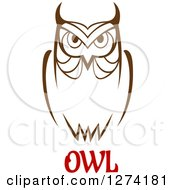 Clipart Of A Brown Owl Facing Front Over Red Text Royalty Free Vector Illustration