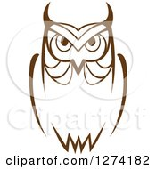 Clipart Of A Brown Owl Facing Front 7 Royalty Free Vector Illustration