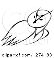 Clipart Of A Black And White Owl Looking Over Its Shoulder Royalty Free Vector Illustration