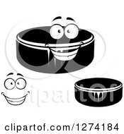 Clipart Of Hockey Pucks And A Face Royalty Free Vector Illustration