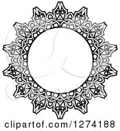 Clipart Of A Black And White Round Lace Frame Design 9 Royalty Free Vector Illustration