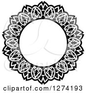 Clipart Of A Black And White Round Lace Frame Design 14 Royalty Free Vector Illustration