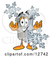 Garbage Can Mascot Cartoon Character With Three Snowflakes In Winter by Toons4Biz