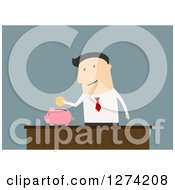Clipart Of A Caucasian Businessman Putting A Coin In A Piggy Bank Royalty Free Vector Illustration