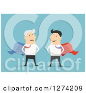 Clipart Of A Worried Super Senior Caucasian Businessman And Young Man Over Blue Royalty Free Vector Illustration