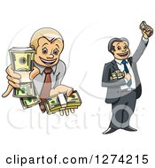 Clipart Of Caucasian Business Men Holding Up Cash Money Royalty Free Vector Illustration