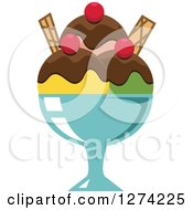 Clipart Of A Chocolate And Cherry Covered Ice Cream Sundae Royalty Free Vector Illustration
