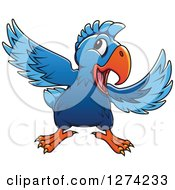 Clipart Of A Happy Blue Parrot Royalty Free Vector Illustration