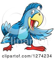 Clipart Of A Happy Presenting Blue Parrot Royalty Free Vector Illustration