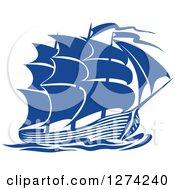 Clipart Of A Navy Blue Sailing Ship 4 Royalty Free Vector Illustration