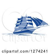 Clipart Of A Navy Blue Sailing Ship 2 Royalty Free Vector Illustration