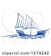 Clipart Of A Navy Blue Sailing Ship 3 Royalty Free Vector Illustration