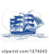 Clipart Of A Navy Blue Sailing Ship Royalty Free Vector Illustration