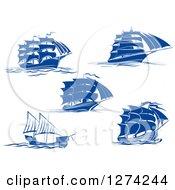 Clipart Of Navy Blue Sailing Ships Royalty Free Vector Illustration