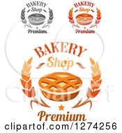 Clipart Of Bakery Shop Wheat Star And Lattice Topped Pie Designs Royalty Free Vector Illustration