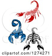 Clipart Of Red Black And White And Blue Scorpions Royalty Free Vector Illustration