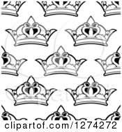 Clipart Of A Seamless Background Pattern Of Black And White Ornate Crowns 2 Royalty Free Vector Illustration
