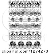 Clipart Of Vintage Black And White Ornate Floral Borders Royalty Free Vector Illustration
