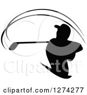 Clipart Of A Black Silhouetted Golfer Swinging Royalty Free Vector Illustration by Vector Tradition SM