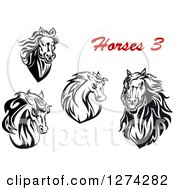 Clipart Of Black And White Horse Heads With Demonic Eyes And Text Royalty Free Vector Illustration