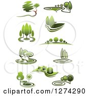 Clipart Of Green Trees And Landscapes Royalty Free Vector Illustration
