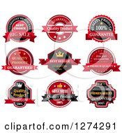 Clipart Of Black Red And Yellow Quality Labels Royalty Free Vector Illustration