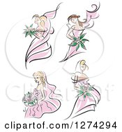 Clipart Of Brides In Pink Dresses Royalty Free Vector Illustration by Seamartini Graphics