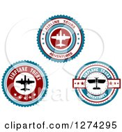 Clipart Of Red White And Blue Commercial Airliner And Small Plane Tour Circles 2 Royalty Free Vector Illustration by Seamartini Graphics