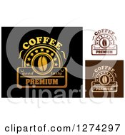 Clipart Of A Premium Coffee Bean Designs Royalty Free Vector Illustration