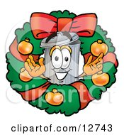 Clipart Picture Of A Garbage Can Mascot Cartoon Character In The Center Of A Christmas Wreath