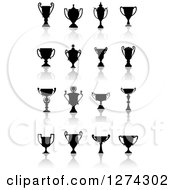 Clipart Of Black Silhouetted Trophy Cups Urns And Reflections 2 Royalty Free Vector Illustration