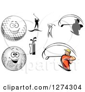 Clipart Of Golfers Balls And Accessories Royalty Free Vector Illustration