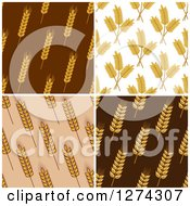 Clipart Of Seamless Background Patterns Of Wheat Royalty Free Vector Illustration