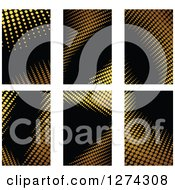 Clipart Of Gold Halftone Business Card Designs On Black 2 Royalty Free Vector Illustration by Seamartini Graphics