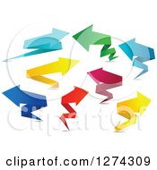 Clipart Of Colorful Paper Origami Arrows Royalty Free Vector Illustration by Seamartini Graphics