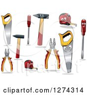 Clipart Of Tools And Characters Royalty Free Vector Illustration