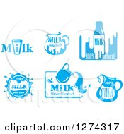 Clipart Of Blue And White Milk Designs 3 Royalty Free Vector Illustration by Seamartini Graphics